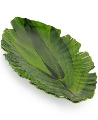 QSquared Q Zen Melamine Large Green Leaf Platter