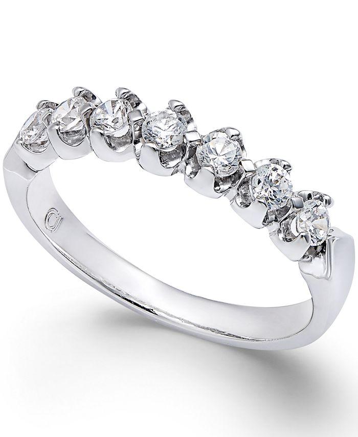 Macy's - Certified Diamond Scalloped Ring (1/2 ct. t.w.) in 14k White Gold