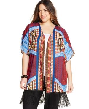 Ny Collection Plus Size Printed Fringe Kimono Cardigan