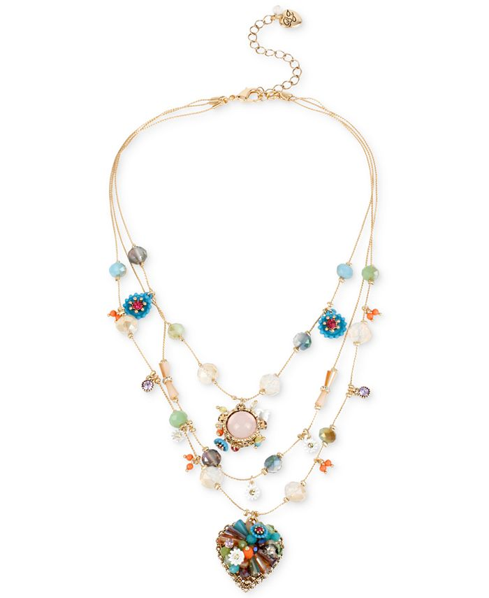 Betsey Johnson - Gold-Tone Multicolor Beaded Illusion Necklace