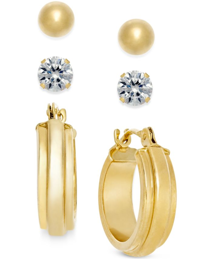 Macy's Stud and Hoop Earring Set in 10k Gold & Reviews - Earrings - Jewelry & Watches - Macy's