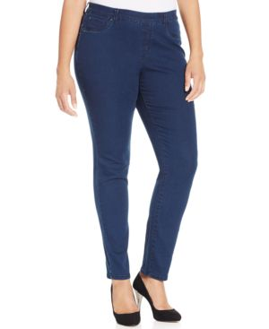 Charter Club Plus Size Pull-On Skinny Jeans, South Hampton Wash