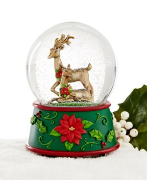 Holiday Lane Bronze Deer Musical Snow Globe, Only at Macy's