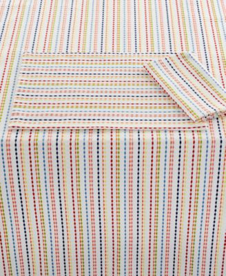 "Fiesta Ditsy Stripe Collection Cotton 60""x 102"" Tablecloth"