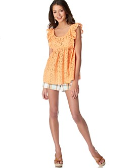 Macy*s - Juniors/Thisit.com - Necessary Objects Eyelet Flutter-Sleeve Top & Plaid Cuffed Short