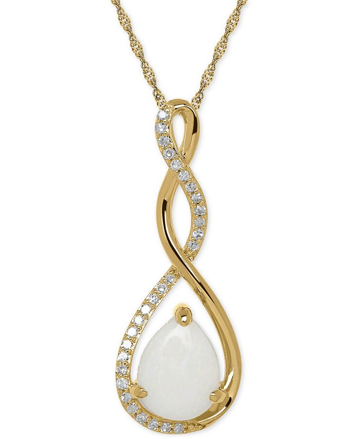 Macy's - Birthstone and Diamond (1/10 ct. t.w.) Pendant Necklace in 14k White or Yellow Gold