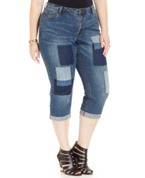 Harper and Liv Plus Size Cropped Patchwork Jeans