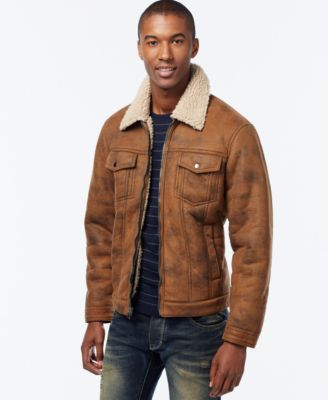 INC International Concepts Zip-Front Jacket with Faux Shearling Collar, Only at Macys