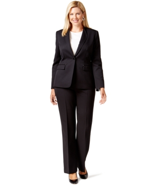 Tahari Asl Plus Size One-Button Pinstriped Pantsuit