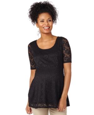 Motherhood Maternity Lace Short-Sleeve Top plus size,  plus size fashion plus size appare