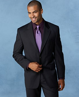Macy*s - Men's - Lauren By Ralph Lauren Two-Button Navy Stripe Wool/Cashmere Suit from macys.com