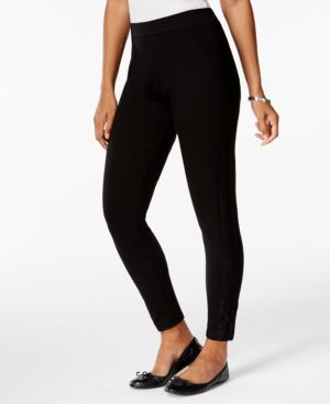 Style & Co. Lace-Panel Knit Ankle-Length Leggings, Only at Macy's