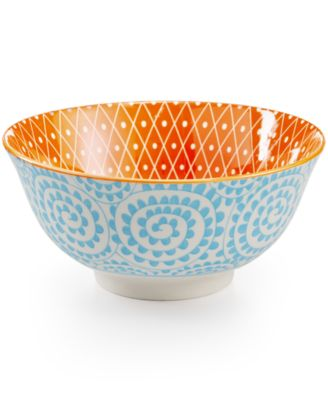 "Certified International Chelsea Collection Porcelain 4.75"" Aqua Swirl Bowl"