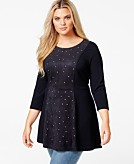 Melissa McCarthy Seven7 Studded Faux-Suede-Front Tunic