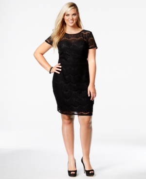 Trixxi Plus Size Short-Sleeve Lace Illusion Dress