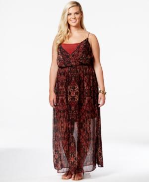 Junarose Plus Size Printed Semi-Sheer Maxi Dress