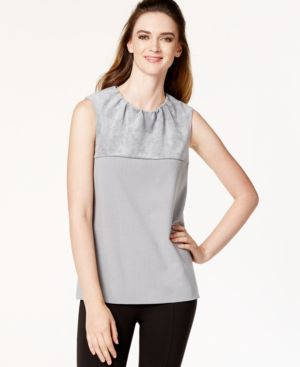 Calvin Klein Faux-Suede Sleeveless Shell Top