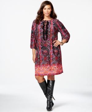Spense Plus Size Printed Peasant Dress