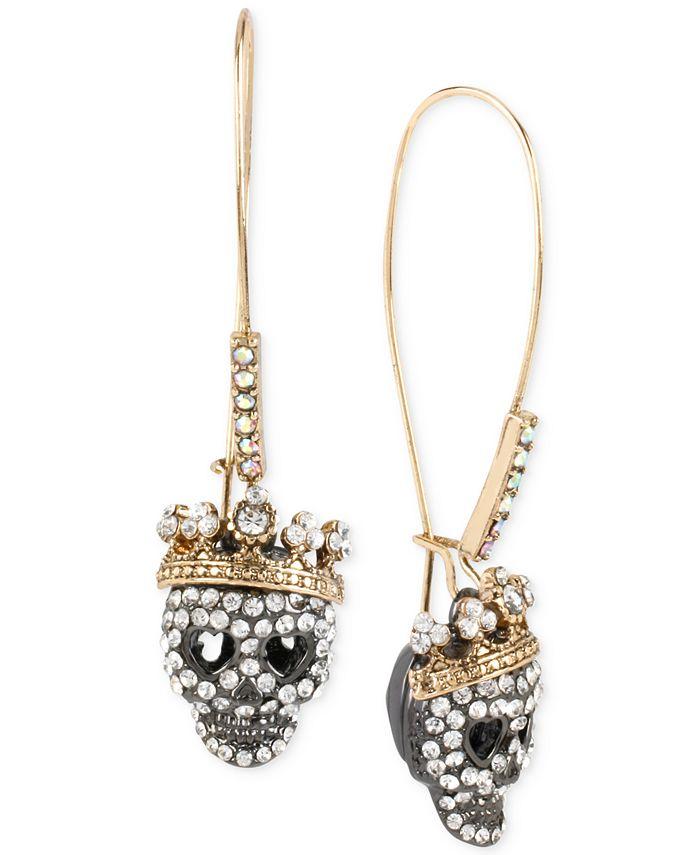 Betsey Johnson - Two-Tone Pavé Skull Long Drop Earrings