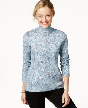 Charter Club Long-Sleeve Paisley-Print Turtleneck, Only at Macy's