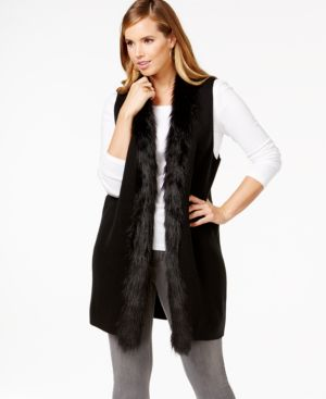 Alfani Plus Size Faux-Fur-Trimmed Sweater Vest, Only at Macy's