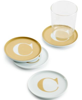 "The Cellar Gold Initial Coasters Collection Porcelain Set of 4 Initial ""C"" Coasters, Only at Macy's"