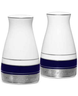 "Noritake ""Crestwood Cobalt Platinum"" Salt and Pepper Set"