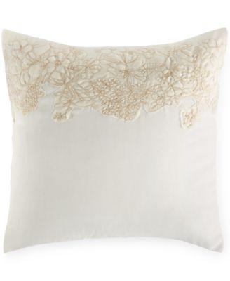 "Calvin Klein Embroidered Flora 18"" Square Decorative Pillow"