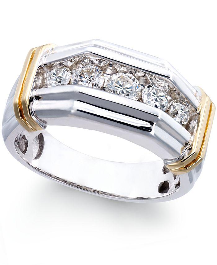 Macy's - Men's Diamond (1 ct. t.w.) Ring in 10k White and Yellow Gold