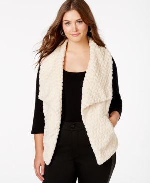 Jou Jou Plus Size Textured Faux-Fur Shawl Vest