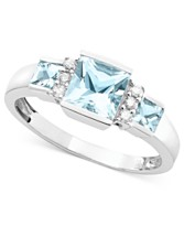 14k White Gold Aquamarine (9/10 ct. t.w.) & Diamond Accent Ring