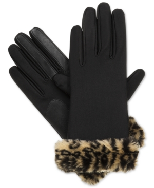 Vintage Style Gloves Isotoner Signature Boxed Fur Cuff Spandex SmarTouch Tech Gloves $50.00 AT vintagedancer.com