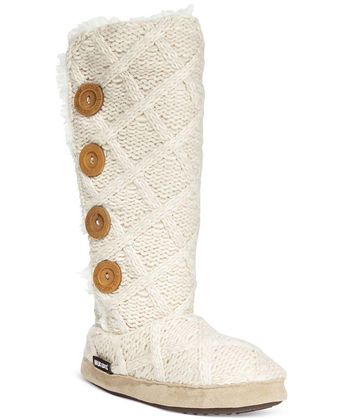 Muk Luks - Malena Faux-Shearling Sweater Boot Slippers
