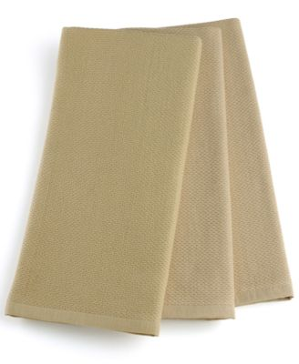 Martha Stewart Collection Pique Kitchen Towels Set of 3, Taupe