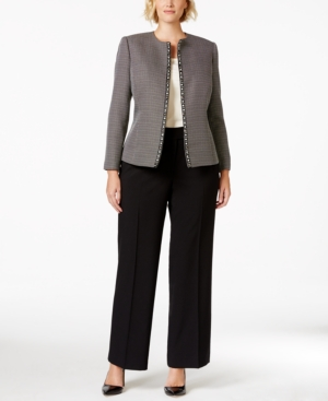 Tahari Asl Plus Size Tweed Jacket Pantsuit