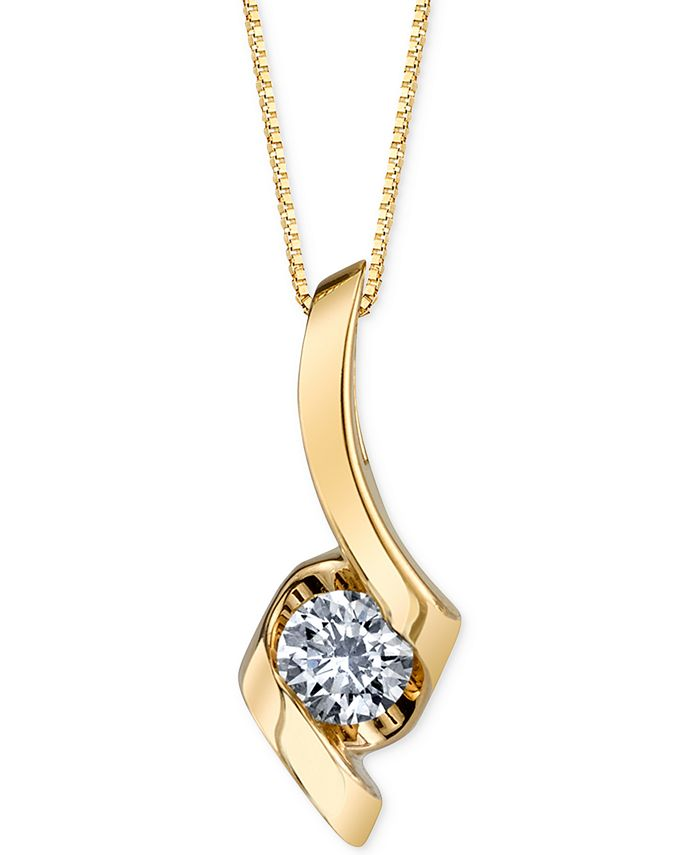 Macy's - Diamond Twist Pendant Necklace (1/4 ct. t.w.) in 14k Gold or White Gold