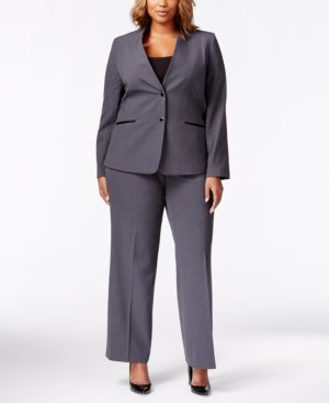 Tahari Asl Plus Size Two-Button Pant Suit