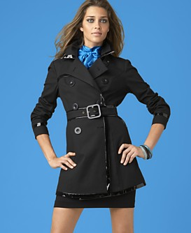 INC International Concepts® Double-Breasted Trench, Silk Top & Belted Miniskirt