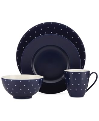 kate spade new york Larabee Dot Navy Collection Stoneware 4-Pc. Place Setting