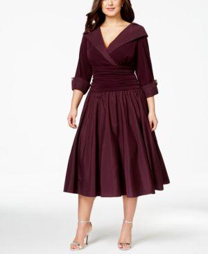 Jessica Howard Plus Size Portrait-Collar A-Line Dress