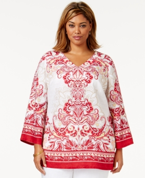 Jm Collection Plus Size Border-Print Linen Peasant Tunic, Only at Macy's