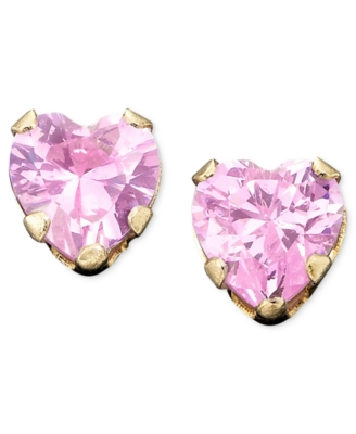 Children's 14k Gold Pink Cubic Zirconia Earrings
