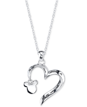 Disney Mickey Mouse Engraved Pendant Necklace in Sterling Silver