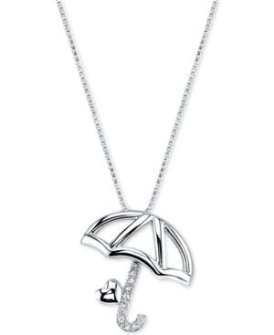 Disney Pinocchio Umbrella Diamond Accent Pendant Necklace in Sterling Silver