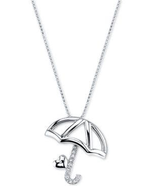 Disney Pinocchio Umbrella Diamond Accent Pendant Necklace in Sterling Silver