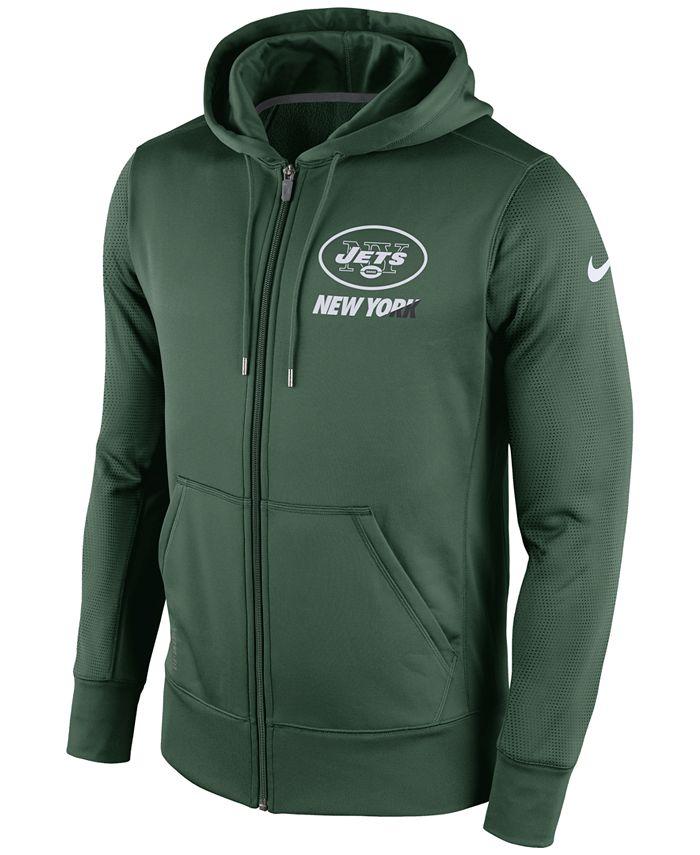 Nike - Men's New York Jets Sideline KO Fleece Full-Zip Hoodie