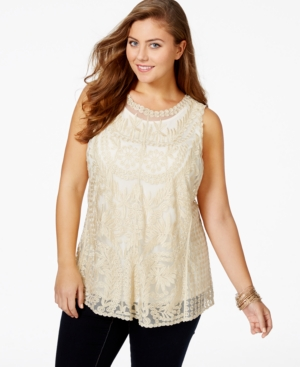 American Rag Plus Size Sleeveless Mesh Top, Only at Macy's