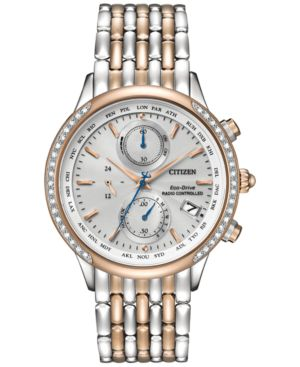 Citizen Women's Chronograph Eco-Drive Diamond Accent Two-Tone Stainless Steel Bracelet Watch 38mm FC5006-55A 2346481