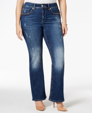 Melissa McCarthy Seven7 Plus Size Ripped Largo Blue Wash Bootcut Jeans