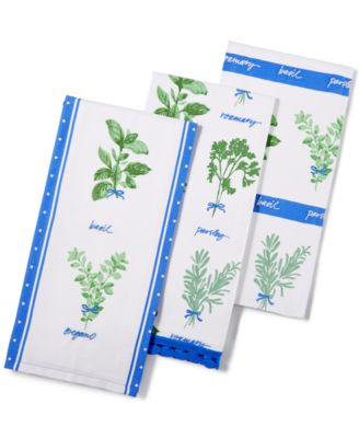 Martha Stewart Collection 3-Pc. Hand Picked Herbs Kitchen Towel Set, Only at Macy's